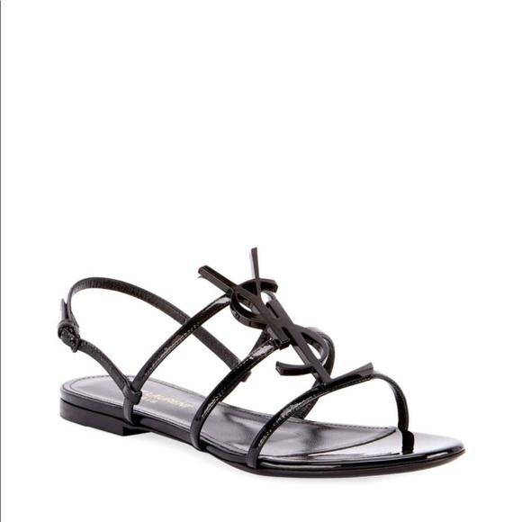 Saint Laurent Shoes - Saint Lauren Black Sandals w/Logo